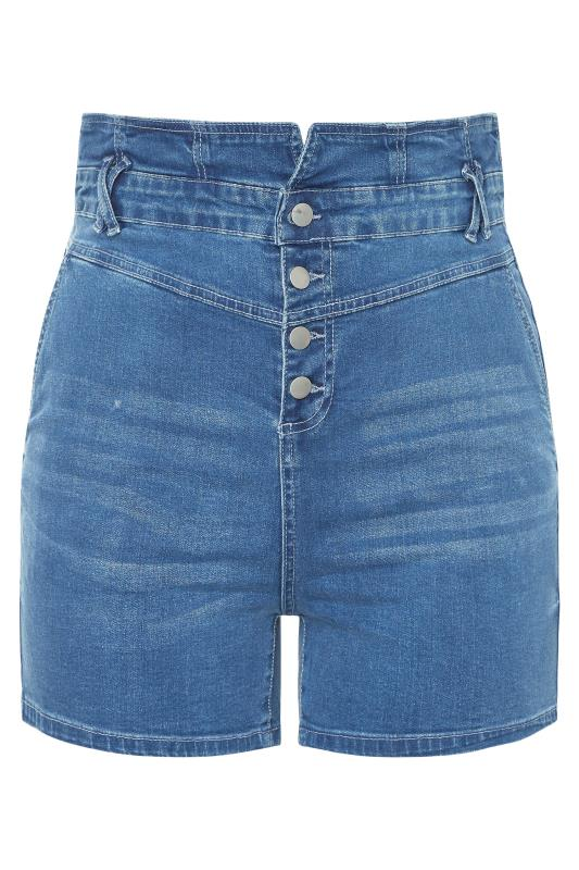 Mid Blue Corset High Waist Denim Shorts_f.jpg