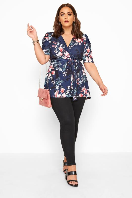 YOURS LONDON Midnight Blue Floral High Low Wrap Top_B.jpg