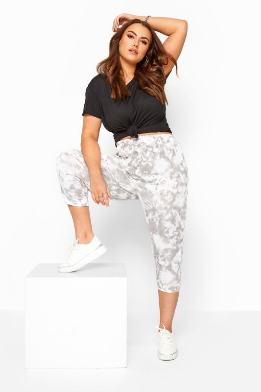 Joggers Tallas Grandes Grey Tie Dye Cropped Joggers
