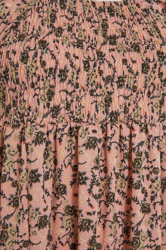 Pink Floral Shirred Front Split Hem Midi Dress_S.jpg