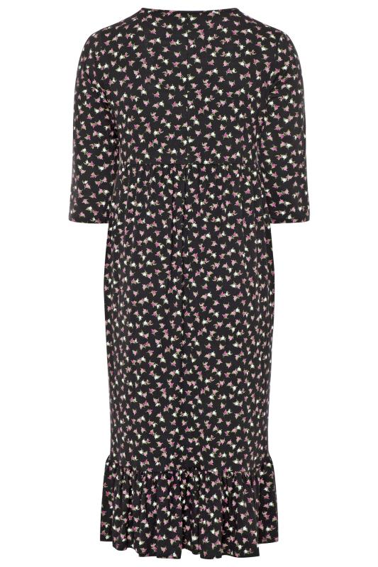 LIMITED COLLECTION Black Ditsy Midi Smock Dress