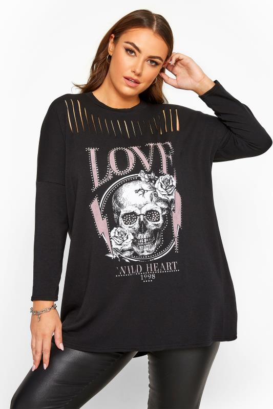 Plus Size Sweatshirts & Hoodies Black Skull Stud Laser Cut Sweatshirt