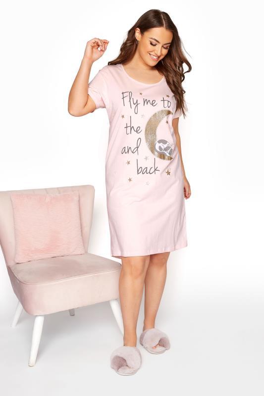 Blush Pink 'Fly Me To The Moon' Dipped Hem Nightdress_A.jpg