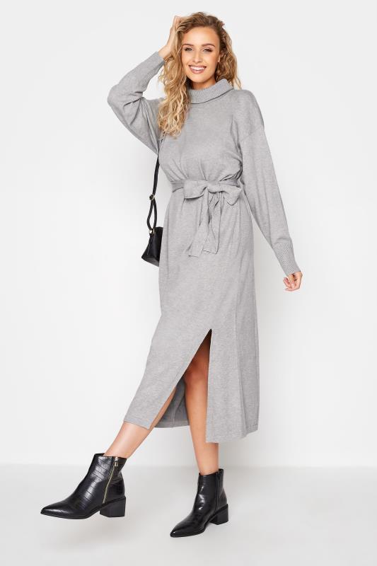 LTS Grey Roll Neck Knitted Midi Dress_B.jpg