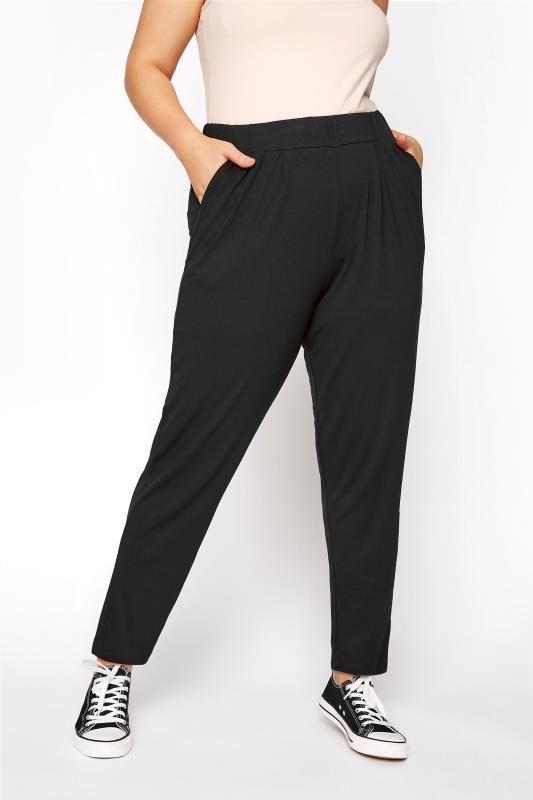 Plus Size Harem Trousers Black Double Pleat Jersey Joggers