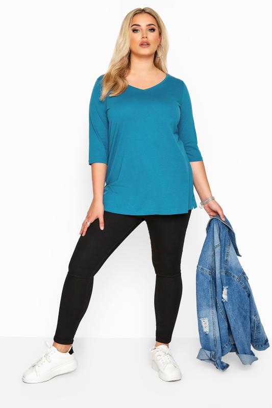 Teal Blue V-Neck Cotton Top