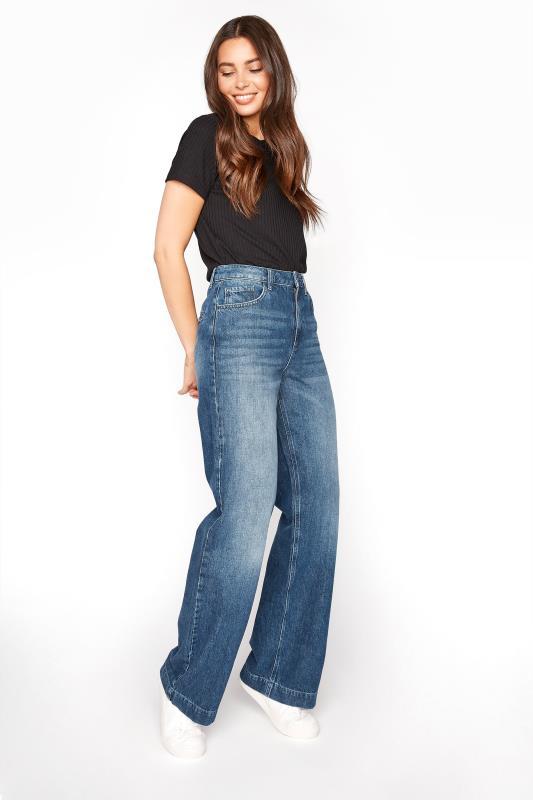 Tall  Mid Blue Denim Wide Leg Jeans
