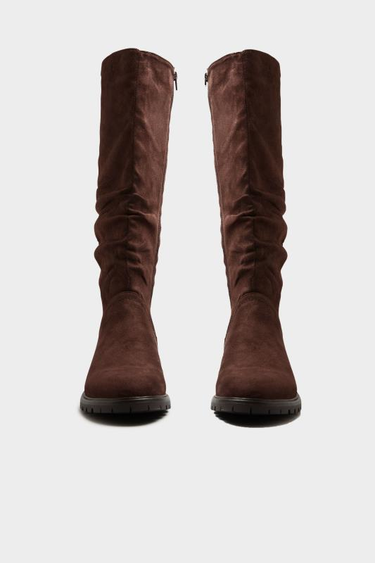 Chocolate Brown Ruched Cleated Boots In Regular Fit_A.jpg
