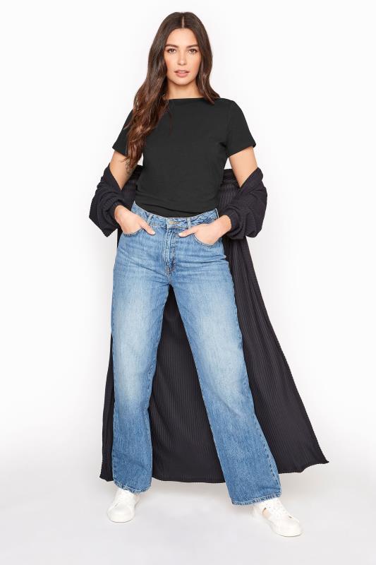 Black Cotton Stretch Boat Neck T-Shirt