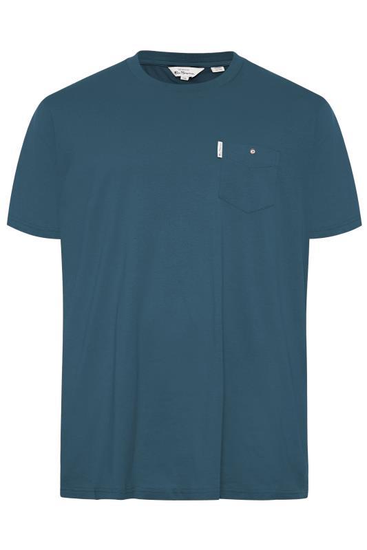 dla puszystych BEN SHERMAN Blue Pocket T-Shirt