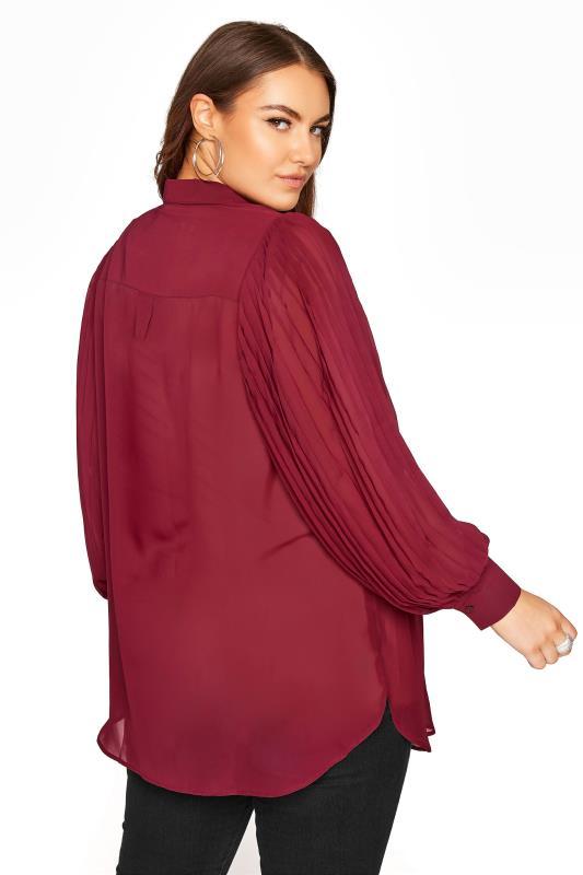 YOURS LONDON Burgundy Pleat Sleeve Shirt_RC.jpg