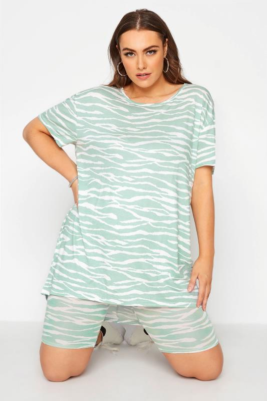 Plus Size  LIMITED COLLECTION Green Zebra Print Cycling Shorts