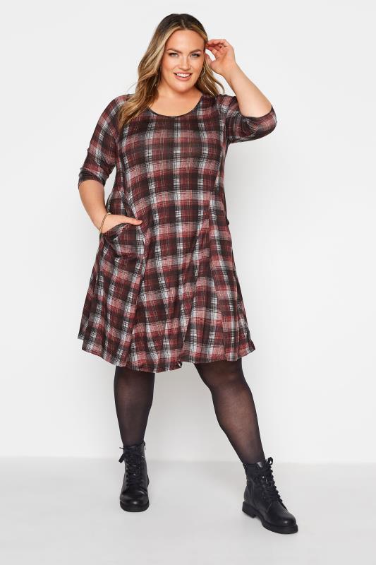 Plus Size  Black Check Print Pocket Midi Dress