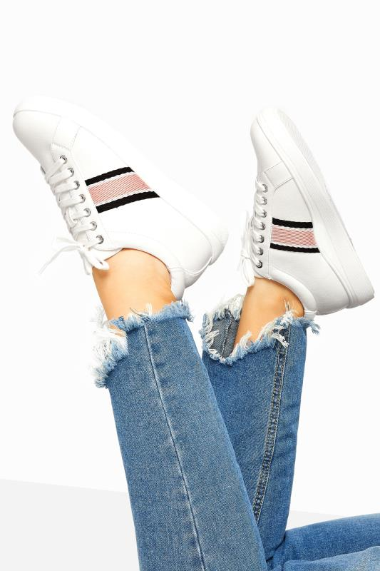 Plus Size  White Vegan Faux Leather Stripe Trainers In Extra Wide Fit