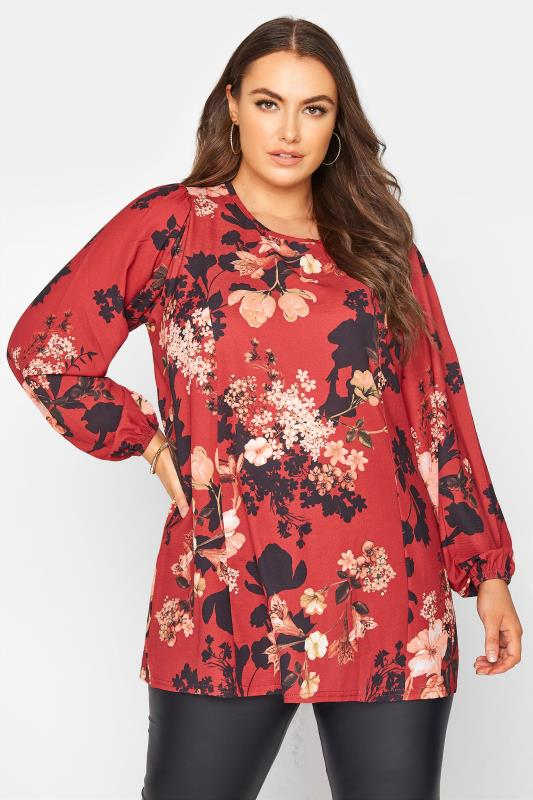 Plus Size  YOURS LONDON Red Floral Balloon Sleeve Blouse