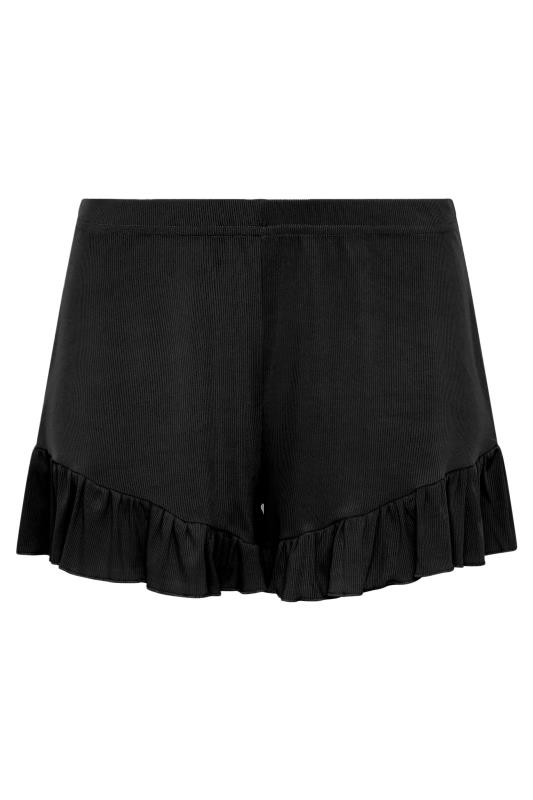 LIMITED COLLECTION  Black Frill Ribbed Pyjama Shorts_F.jpg