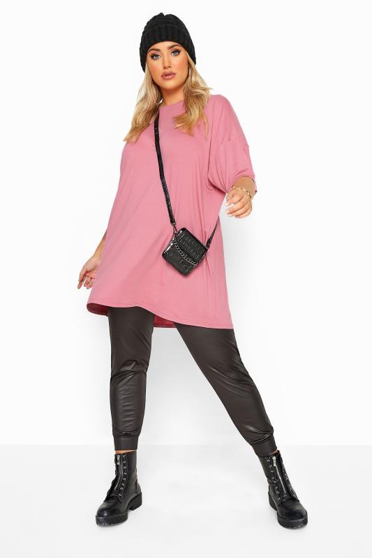 Blush Pink Jersey Oversized T-Shirt