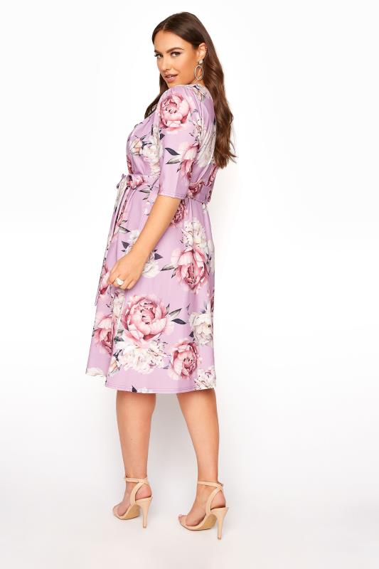 YOURS LONDON Lilac Floral Square Neck Dress_C.jpg