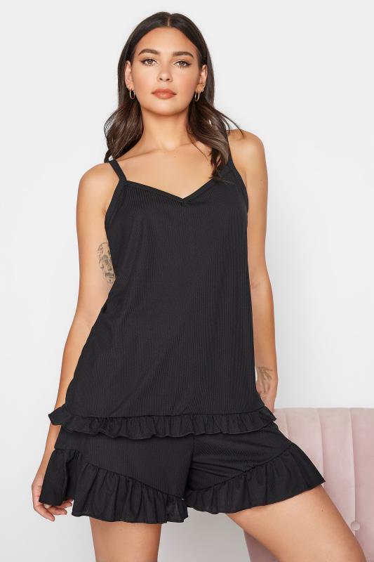 Tall  LTS Black Frill Pyjama Vest Top