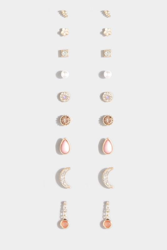 9 PACK Gold & Pink Stud Earrings