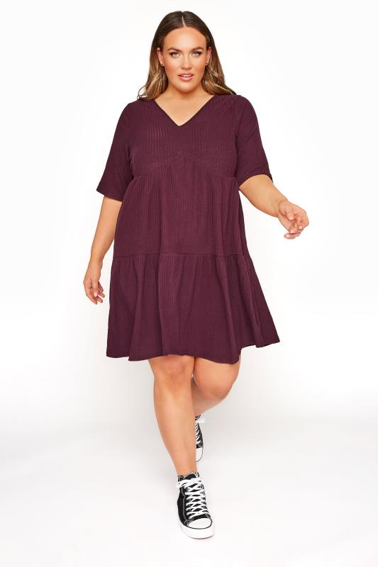 Black Dresses Tallas Grandes LIMITED COLLECTION Plum Ribbed Tiered Smock Dress