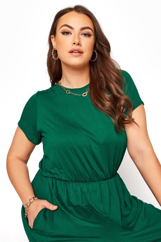 YOURS LONDON Forest Green Pocket Midaxi Dress_D.jpg