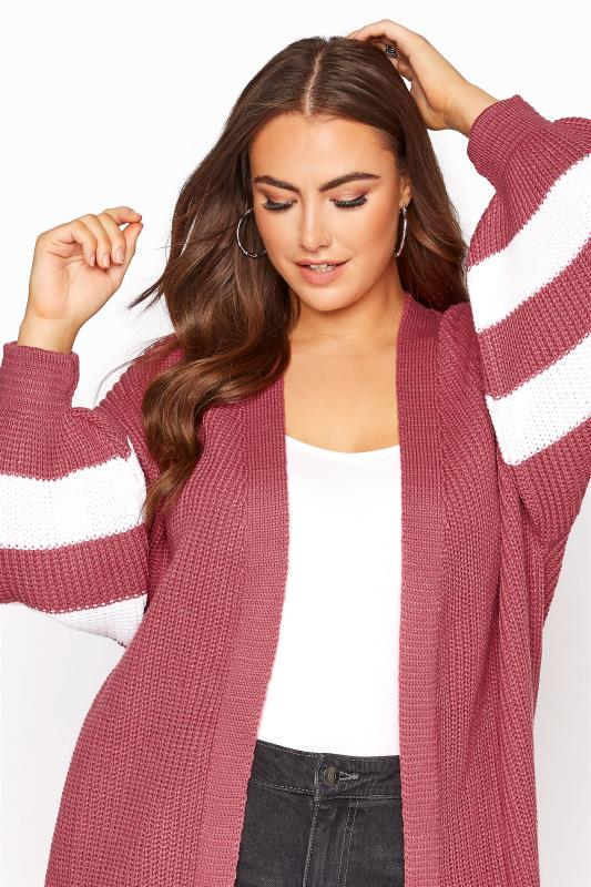 Pink Varsity Stripes Knitted Cardigan_D.jpg