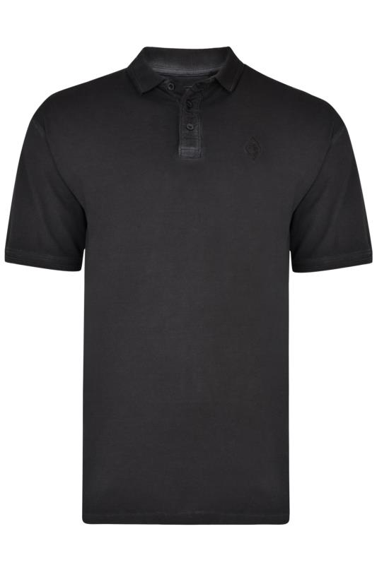 KAM Black Acid Wash Polo Shirt