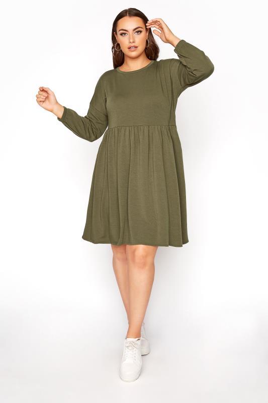 Plus Size Casual Dresses LIMITED COLLECTION Khaki Peplum Sweatshirt Dress