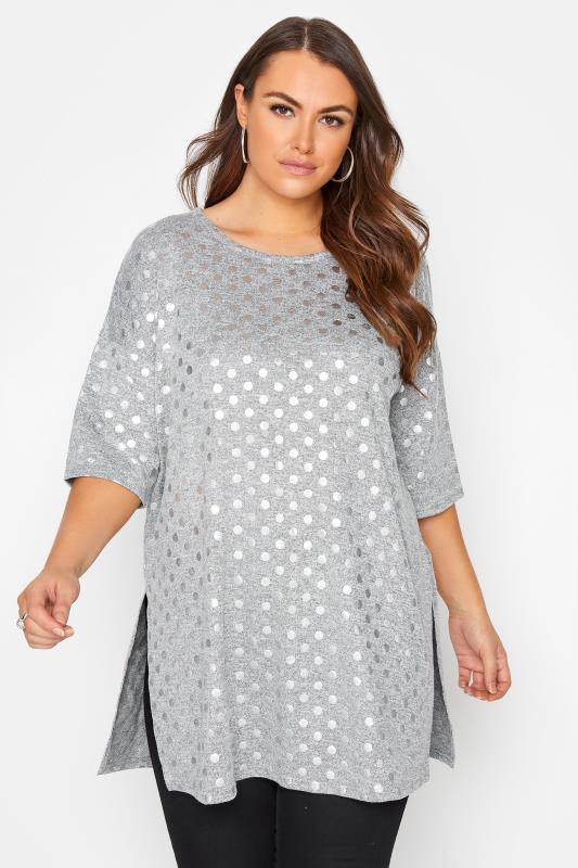 Plus Size  Grey Oversized Foil Spot T-Shirt