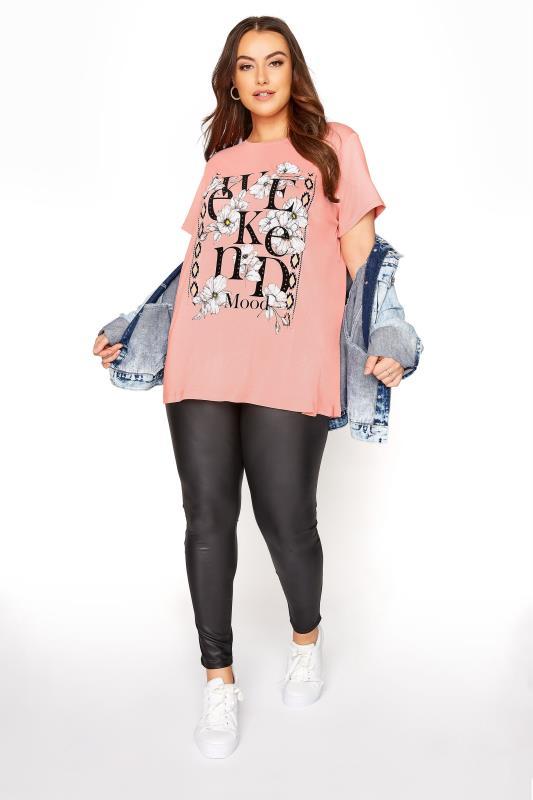 Pink Floral 'Weekend Mood' Slogan T-Shirt