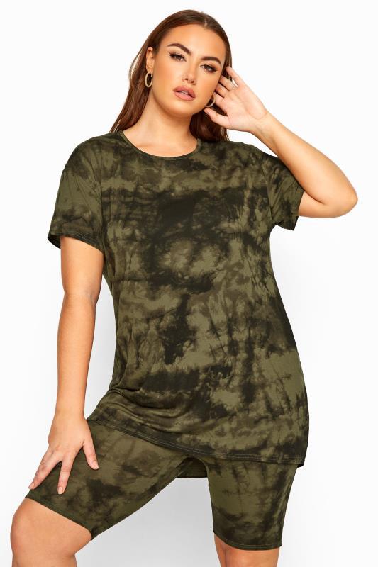 Plus Size T-Shirts LIMITED COLLECTION Khaki Tie Dye T-Shirt