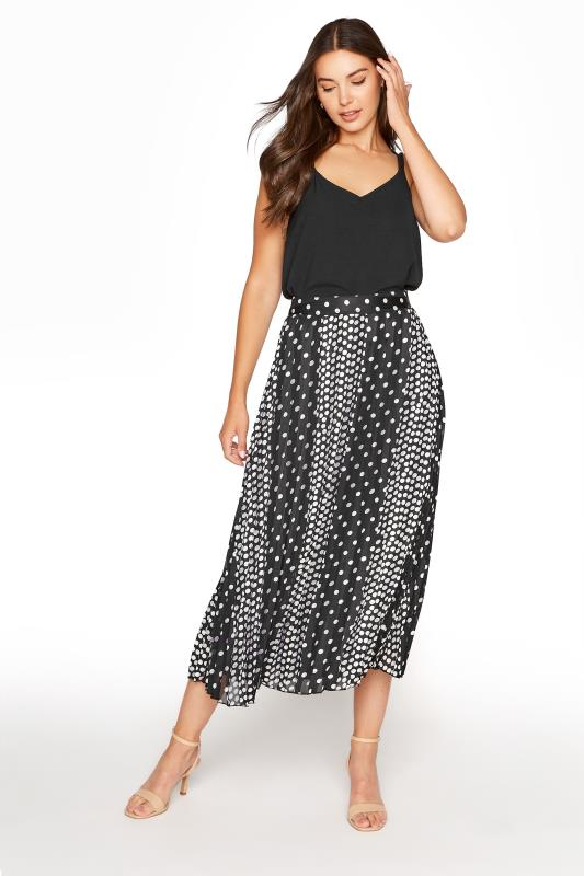 Black Spot Print Jacquard Chiffon Pleated Skirt