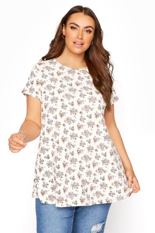 Plus Size  White Ditsy Floral Swing Top