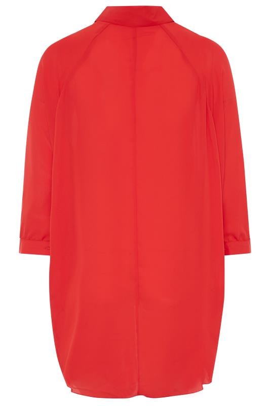 YOURS LONDON Red Oversized Dipped Hem Shirt