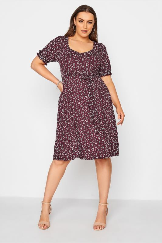 Plus Size  YOURS LONDON Purple Ditsy Sweetheart Midi Dress