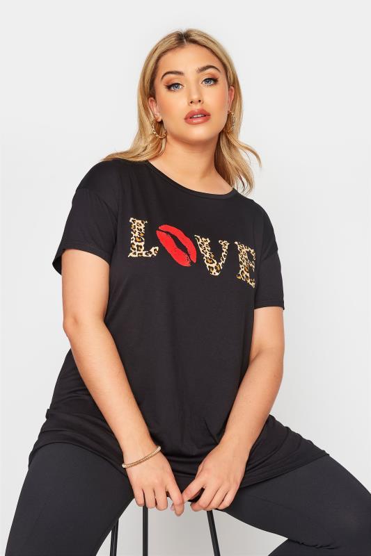 LIMITED COLLECTION Black Animal Print 'Love' Slogan T-Shirt_A.jpg