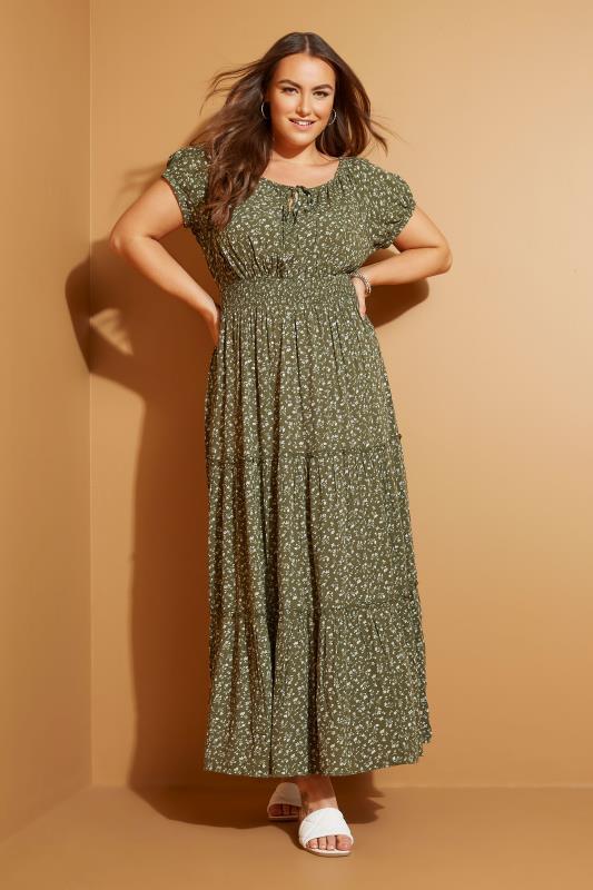Khaki Ditsy Puff Sleeve Boho Smock Maxi Dress_L1.jpg