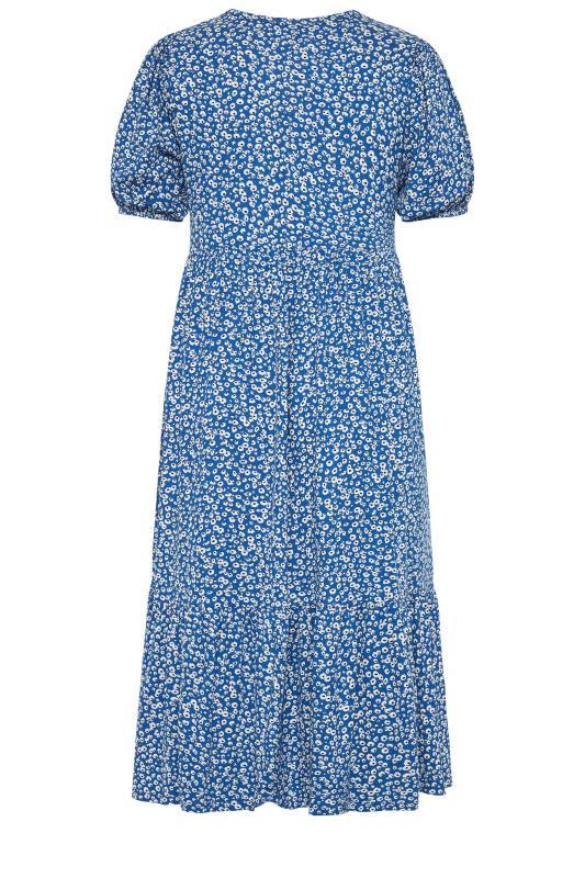 Blue Ditsy Frill Hem Puff Sleeve Midi Smock Dress_bk.jpg
