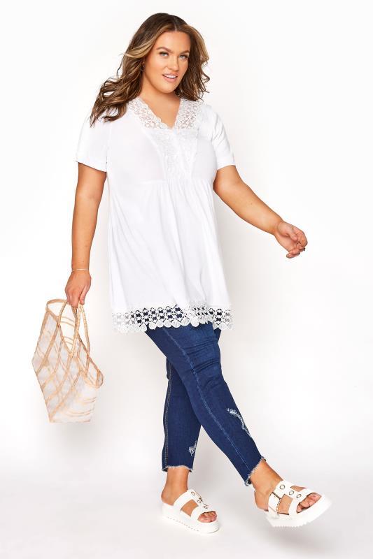 White Crochet Trim Tunic