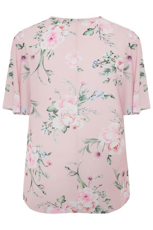 YOURS LONDON Pink Floral Angel Sleeve Blouse_bk.jpg