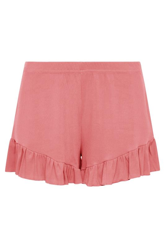 LIMITED COLLECTION Pink Frill Ribbed Pyjama Shorts_F.jpg