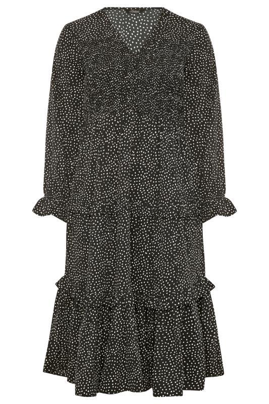 LIMITED COLLECTION Black Dalmatian Shirred Tiered Frill Midi Dress_F.jpg