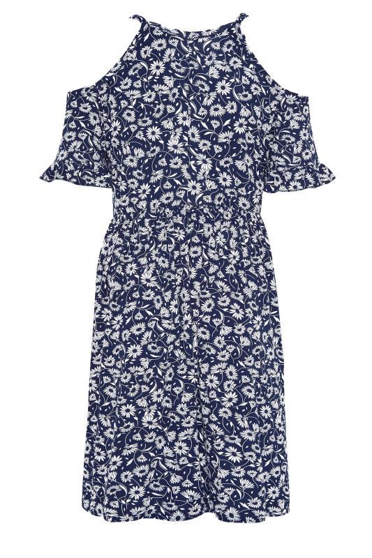 LIMITED COLLECTION Navy Floral Cold Shoulder Dress_BK.jpg