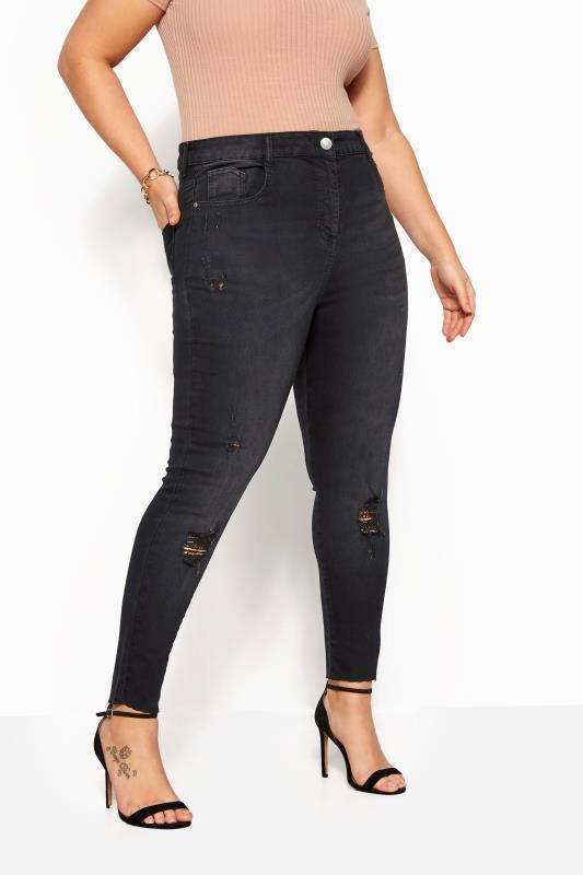 Black Washed Skinny Stretch Ripped AVA Jeans