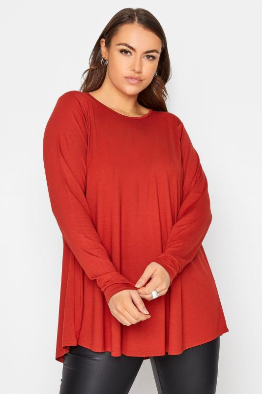 Plus Size  LIMITED COLLECTION Burnt Orange Long Sleeve Swing Top