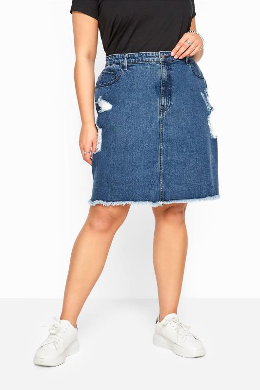 Blue Distressed Denim Skirt