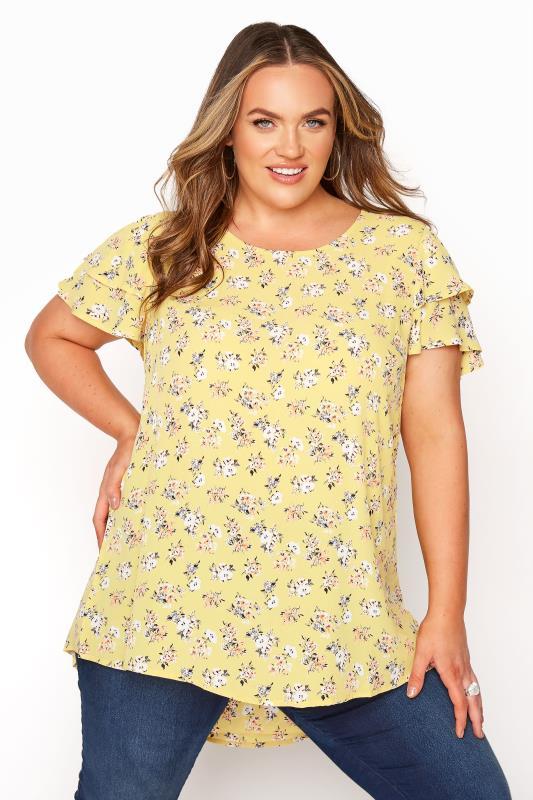 Yellow Floral Print Dipped Hem Blouse_A.jpg