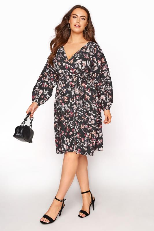 YOURS LONDON Black Floral Wrap Midi Dress_B.jpg