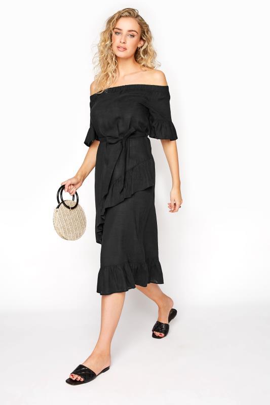 LTS Black Linen Bardot Frill Dress_B.jpg